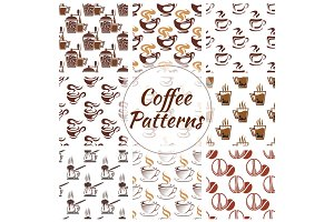 Coffee seamless pattern of beans, cups icons