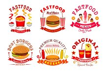 Fast food snack, dessert menu signs, icons set