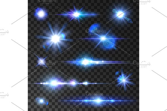 Stars Set Icons Of Twinkling Star Shining Rays
