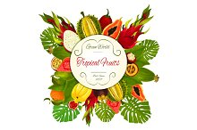 Tropical and exotic fruits vector symbol