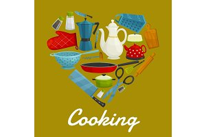 Cooking heart of kitchenware and utensils