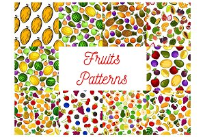 Tropical fruit and garden berry seamless pattern