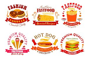 Fast food menu icons, labels, emblems set