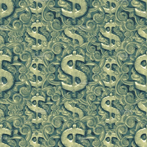 Money Symbol Ornate Seamless Pattern