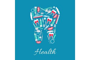 Dental health vector poster of dentistry items