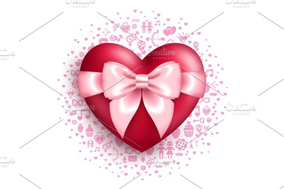Glossy Red Heart With Pink Bow With Love Symbols Textures