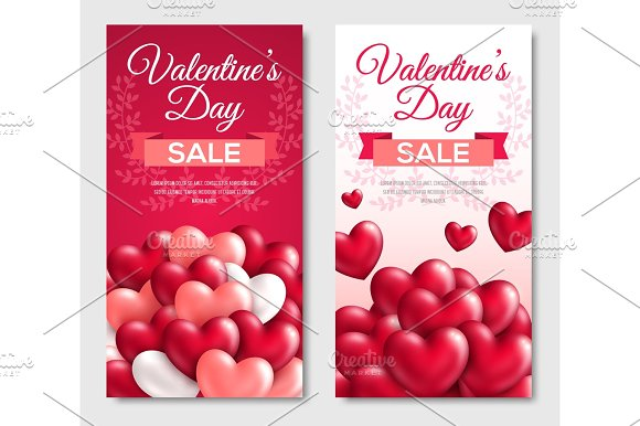 Valentines Day Sale Vertical Banners