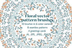 Floral vector brushes collection