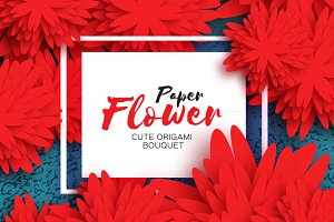Red Paper Flower. Origami bouquet
