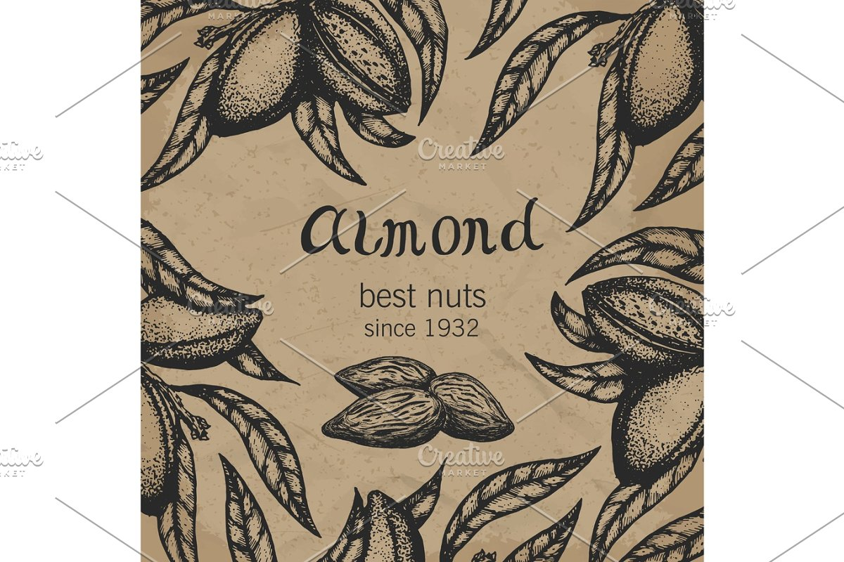 Almond tree design template alm