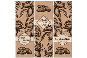 Vector set of hand-drawn patterns with almonds in a retro style.