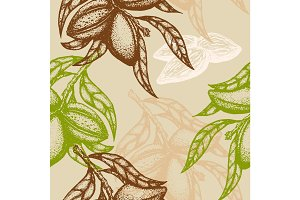Hand drawn Almond Seamless pattern. Branch of almonds. Vector illustration