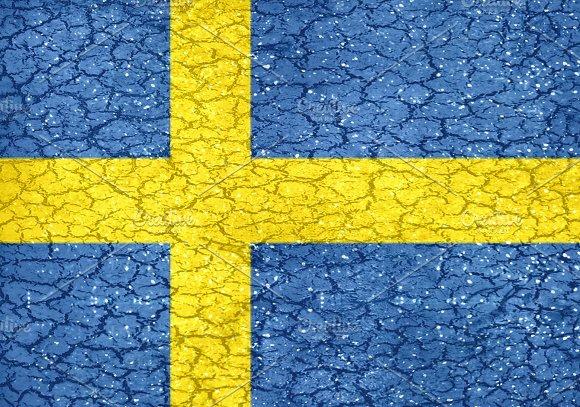 Grunge Style Sweden National Flag