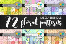 Mega bundle. 72 floral patterns.