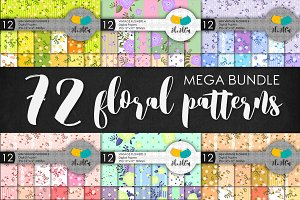 Mega bundle. 72 floral patterns.