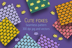 Foxes seamless patterns