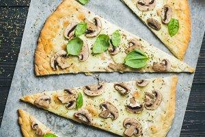 Homemade sliced mushroom pizza