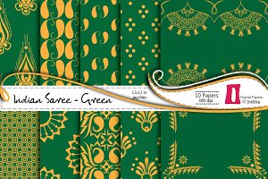 Indian Saree Green Paper Pack