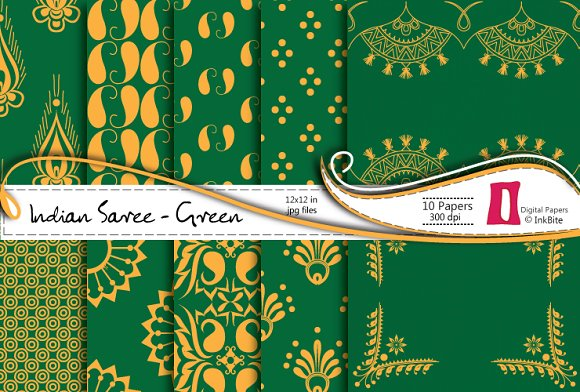 Indian Saree Green Paper Pack