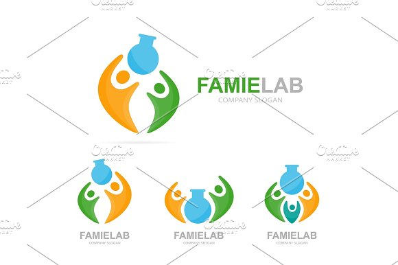 Vector Lab And People Logo Combination Bottle And Family Symbol Or Icon Unique Union Help Connect Team And Community Logotype Design Template