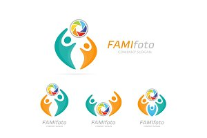 Vector photo camera and people logo combination. Shutter and family symbol or icon. Unique union, help, connect, team and community logotype design template.