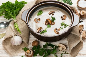 Mushroom soup in a bowl.