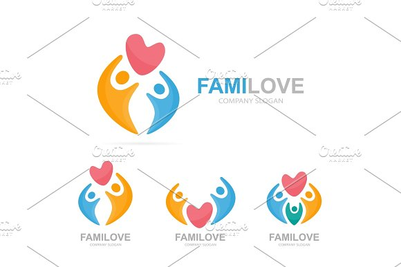 Vector Heart And People Logo Combination Cardiology And Family Symbol Or Icon Unique Union Embrace Connect Team And Community Logotype Design Template