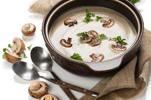 Delicious soup puree with mushroom