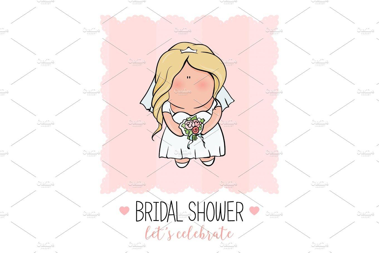 doodle character. cute bride. Romantic announcement for bridal ...