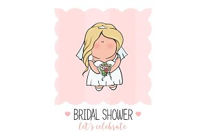 doodle character. cute bride. Romantic announcement for bridal shower party. invitation or congratulation card in   style.