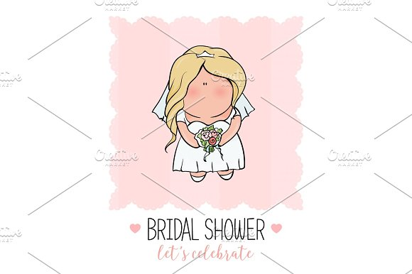 Doodle Character Cute Bride Romantic Announcement For Bridal Shower Party Invitation Or Congratulation Card In Style