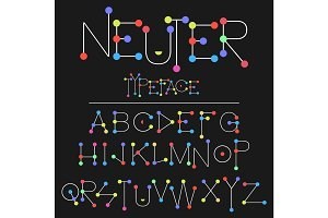 Neuter modern flat font made with dots, good for motion and game design, colorful font isolated on background