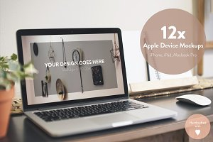 12 Macbook PRO, iPad, iPhone Mockups