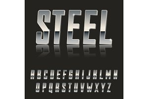 Steel Chrome letters typeface made of steel modern looking realistic