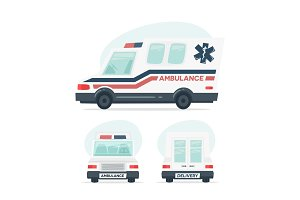 Set of cartoon ambulance car. Isolated objects on white background in flat cartoon style. Vector illustration.