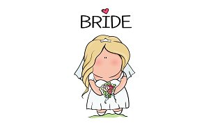 doodle character. cute bride. template for print