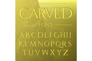 Carved font, engraved on the wall modern realistic letters in roman style, serif