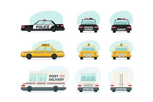 Set of cartoon ambulance, police and yellow taxi car. Delivery, law and aid symbol. Vector auto, trailer and van design template. Isolated objects on white background in flat style.