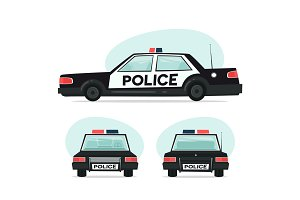 Set of cartoon police car. Isolated objects on white background in flat cartoon style. Vector illustration.