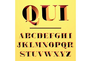 Qui modern typeface carved from the wall, letters and numbers