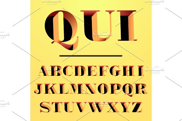 Qui Modern Typeface Carved From The Wall Letters And Numbers