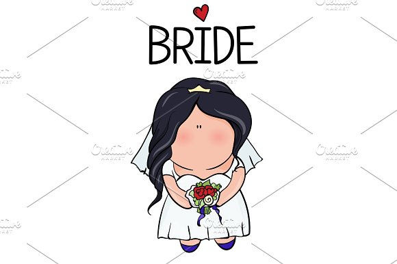 Doodle Character Cute Bride Template For Print