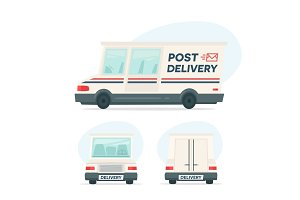 Set of cartoon delivery post car. Isolated objects on white background in flat cartoon style. Vector illustration.