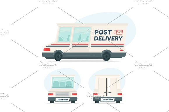 Set Of Cartoon Delivery Post Car Isolated Objects On White Background In Flat Cartoon Style Vector Illustration