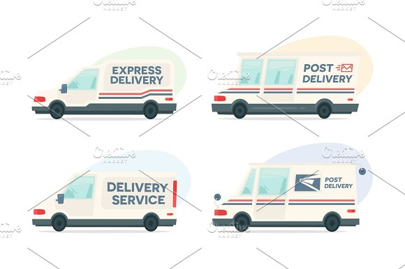 Set Of Cartoon Delivery Post Car Vector Courier And Shipping Symbol Vector Auto Trailer And Van Design Template Isolated Objects On White Background In Flat Style