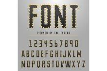 Modern font made by threats, typeface for original design