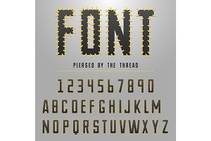 Modern font made by threats, typeface for original design