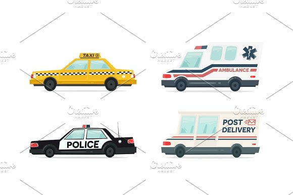 Set Of Cartoon Ambulance Police Delivery And Yellow Taxi Car Delivery Law And Aid Symbol Vector Auto Trailer And Van Design Template Isolated Objects On White Background In Flat Style