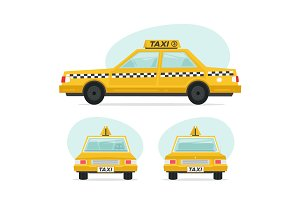 Set of cartoon yellow taxi car. Isolated objects on white background in flat cartoon style. Vector illustration.