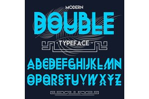 Double typeface, font made by doublescript modern letters sansserif